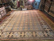 Antique Samarkand Khotan Silk Road Hand Knotted Rug Wool  9'1 x 12'6