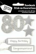 Silver 80th Birthday DIY Greeting Card Toppers Personalise Handmade Cards