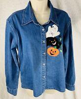 Embellished Originals Women's Cat Pumpkin Ghost Halloween Denim Jean Shirt Sz L