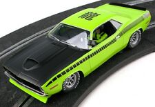 SCX 6438 TRANS AM LIME GREEN CUDA 1970 GRAPHIC ON ROOF 1/32 SLOT CAR