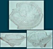 GRAPE & LEAF FIGURAL 3 FOOTED OPEN SALT DIP CELLAR EAPG FOSTORIA CLEAR GLASS
