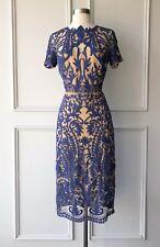 thurley : pandora blue/nude lace midi dress size: 6.10.12.14 -NEW- $599
