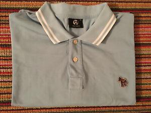 Paul Smith Zebra Badge XL cotton short sleeve Polo Shirt T-Shirt Sky Blue VGC
