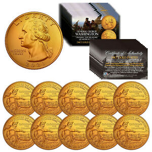 2021 Washington Crossing the Delaware Quarter U.S. Coin 24K GOLD PLATED - QTY 10