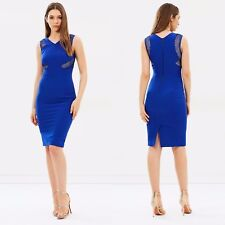 New Karen Millen Blue Lace Panel Pencil Dress Womens Size 12 BNWT Cocktail Party