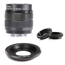 Fujian 35mm f/1.7 CCTV Cine lens for M4/3 / MFT Mount Camer+adapter+ 2Micro ring