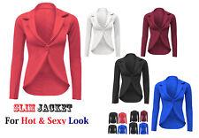 Womens Ladies Blazer Collared One Button Suit Jacket Peplum Slim Fit Coat*SlmJk