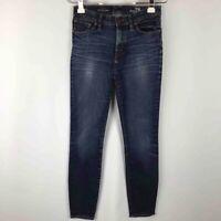 J CREW Womens 28 High Rise Skinny Jeans Blue Dark Wash Whiskered Stretch Denim