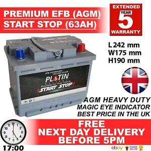 075 START STOP AGM 63AH Heavy Duty 12V Car Battery -More power than AGM / EFB027