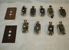 Nine Vintage Pushbutton Ceramic Electric Wall Switches with 2 Covers
