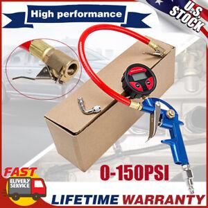 0-150PSI Digital Tire Inflator Car Pressure Gauge Meter Tester Lock-On Air Chuck