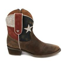Sheryl Crow Leather Americana Bootie Size 6.5 Texas Red White & Blue Brown Boots