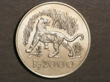 INDONESIA 1974 2000 Rupiah Javan Tiger Silver Crown UNC