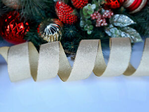 CHRISTMAS WIRED EDGE RIBBON 1.5 IN WIDE GOLD TREE WRAP GIFT WRAPPING BULK