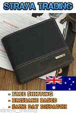 Mens Leather Bifold ID Card Holder Money Wallet