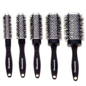 Denman Squargonomics Barrel Crimped Brush Set 5x Brushes Black & Silver