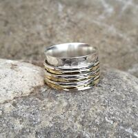 Solid 925 Sterling Silver Meditation Ring Statement Ring Spinner Ring Size sr403