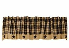 Country Primitive Farmhouse Tan Plaid BLACK STAR VALANCE Window Curtain