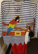 Childrens Blue Striped Pirate Fancy Dress Costume Aged 9-10