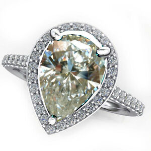 2.65 Ct Vs1:-OFF WHITE Real MOISSANITE DIAMOND PEAR CUT 925 SILVER RING Size 7.5