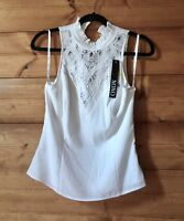 NWT OXOX White Halter Ruffle Neck Floral Lace Detail Sheer Top Junior Girls M