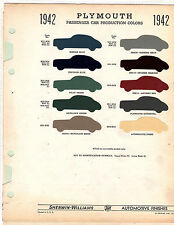 1942 PLYMOUTH 42 COLORS PAINT CHIPS 42 SHERWIN WILLIAMS 10PC