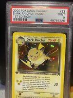 2000 Pokemon Rocket Dark Raichu 1st Edition PSA 9  Holo Swirl (regrade PSA 10?)