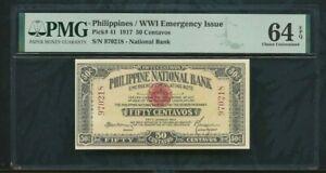 1917  Philippines  / WWI  Emergency  Issue  pick# 41  50 Centavos    PMG 64 EPQ