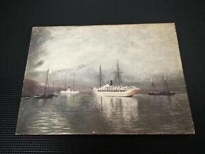 Vintage Antique Harbour Scene Oil on Board