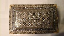 Vintage Mother Of Pearl Inlaid Padded  Wooden Box