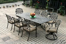 "Elisabeth cast aluminum 9 piece dining set with 84"" rectangle table."