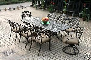"Elisabeth cast aluminum 9 piece dining set with 84"" rectangle table."