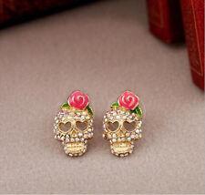 Women girls lovely Pink Rose Rhinestone Skeleton Skull Ear Studs Earrings