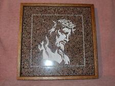 Handmade Art Sandblast Wall Hanging Jesus Face   Gift  Oak Frame Curio