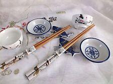 2 SET JAPANESE KOI CARP WHITE CHOPSTICKS STAND SAUCE PLATE CUP CHINESE PARTY B8