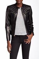 $500 Cole Haan Genuine Lambskin Quilted Moto Leather Jacket XS Black