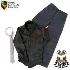 ACI Toys 1/6 Moda 724b_ Black Shirt, Tie & Gray Chino Set_casual clothing AT046Z