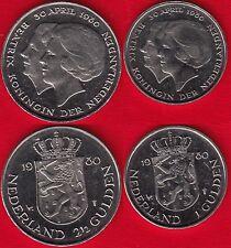 "Netherlands set of 2 coins: 1 - 2 1/2 gulden 1980 ""New Queen"" UNC"