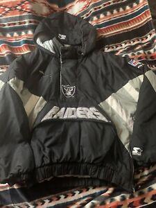 Vintage Los Angeles Raiders Starter Puffer Jacket L 90s NFL 1/2 Zip Pullover