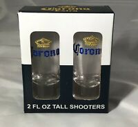 Set of 2 Corona Tall Shot Glass Shooters Bling Bejeweled Drinking Barware Crown