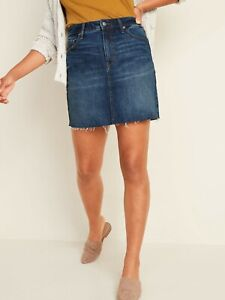 OLD NAVY High-Waisted Frayed-Hem Jean Skirt for Women SIZE 18 NWT