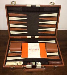 Vintage Vinyl & Wood Backgammon Set | Elegant Attaché-Style Padded Folding Board