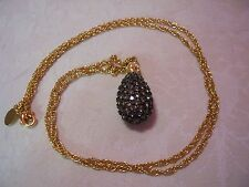 """JOAN RIVERS Caviar Black Crystal Egg Pendant With Gold-tone Chain 28"""""""