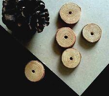 10 x Natural Pine Wood Tree Branch Slice Coins Beads - Pet Rabbit Bird Toy Parts