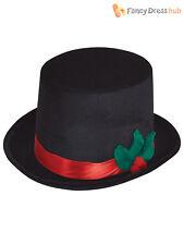 Adult Winter Christmas Snowman Top Hat With Mistletoe Fancy Dress Accessory