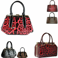 Clasp Faux Leather Outer Handbags Croc Print