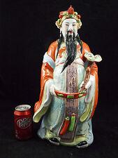 GRAND SUJET EMPEREUR CHINOIS 45 CMS EN PORCELAINE SIGNE