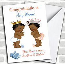 You Have Twin Brother & Sister Black Baby's New Baby Personalised Card