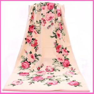 Bath Towel Women Men Pink Orange Blue Floral Printed Peony Cotton Towel Beach