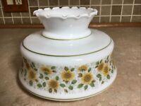 "Vintage 7"" Fitter Sunflowers White Glass Hurricane Oil Lamp Shade Green/ Yellow"